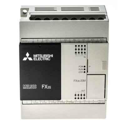 Mitsubishi FX3S PLC CPU - 12 (Sink/Source) Inputs, 8 (Relay) Outputs, Ethernet, ModBus Networking, Mini USB B Interface