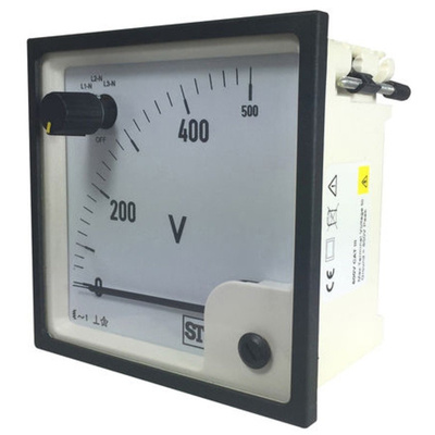 Sifam Tinsley AC Analogue Voltmeter, 500V, 92 x 92 mm,