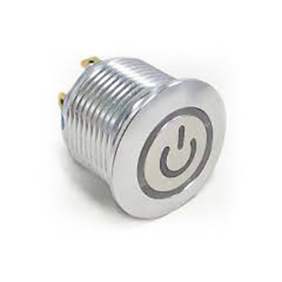 TE Connectivity Single Pole Single Throw (SPST) Momentary Green LED Push Button Switch, IP67, 19.2 (Dia.)mm, Panel