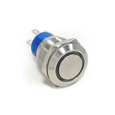 TE Connectivity Single Pole Single Throw (SPST) Momentary Blue LED Push Button Switch, IP67, 19.2 (Dia.)mm, Panel