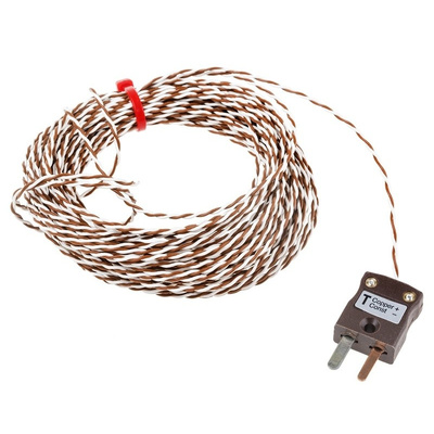 RS PRO Type T Thermocouple 10m Length, 1/0.2mm Diameter → +260°C